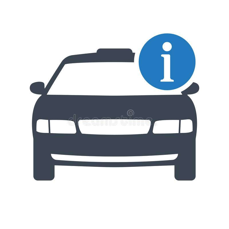 Εικονίδιο ταξί, μεταφορά, αμάξι ταξί, εικονίδιο έννοιας ταξιδιού με το σημάδι πληροφοριών ελεύθερη απεικόνιση δικαιώματος