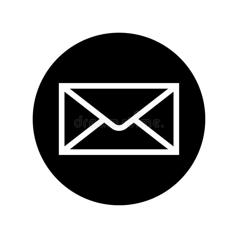 Εικονίδιο ταχυδρομείου στο μαύρο κύκλο Σύμβολο φακέλων ελεύθερη απεικόνιση δικαιώματος