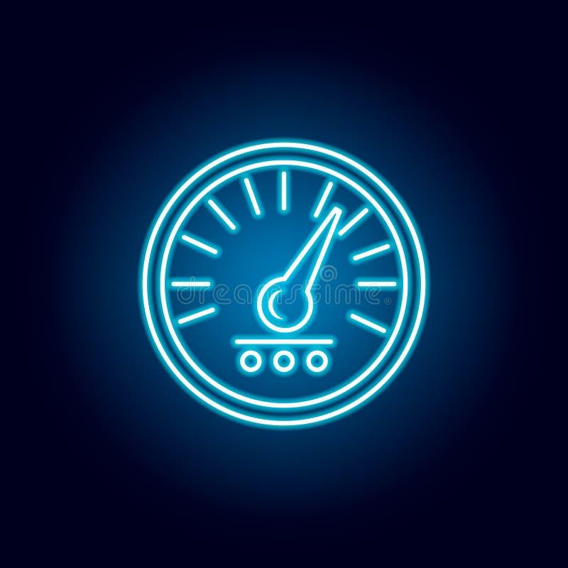 εικονίδιο ταχυμέτρων στο μπλε ύφος νέου Στοιχείο του αγώνα για το κινητό εικονίδιο έννοιας και Ιστού apps r ελεύθερη απεικόνιση δικαιώματος