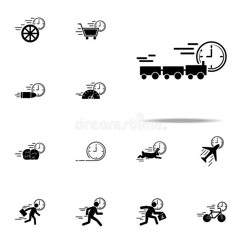 εικονίδιο ταχύτητας μεταφορών τραίνων Καθολικό εικονιδίων ταχύτητας που τίθεται για τον Ιστό και κινητό ελεύθερη απεικόνιση δικαιώματος