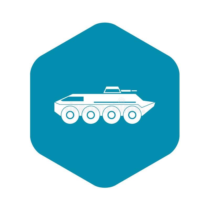 Εικονίδιο τεθωρακισμένων οχημάτων μεταφοράς προσωπικό, απλό ύφος διανυσματική απεικόνιση