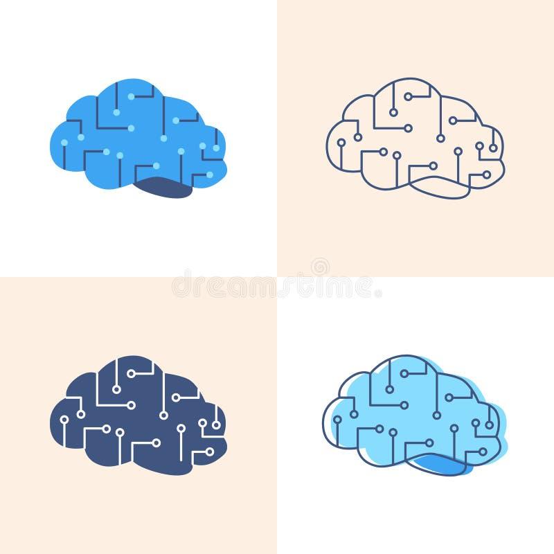 Εικονίδιο τεχνητής νοημοσύνης που τίθεται στο επίπεδο και ύφος γραμμών διανυσματική απεικόνιση