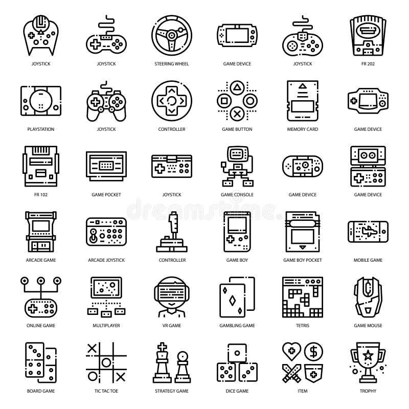 Εικονίδιο τεχνολογίας παιχνιδιών και περιλήψεων εξαρτημάτων απεικόνιση αποθεμάτων