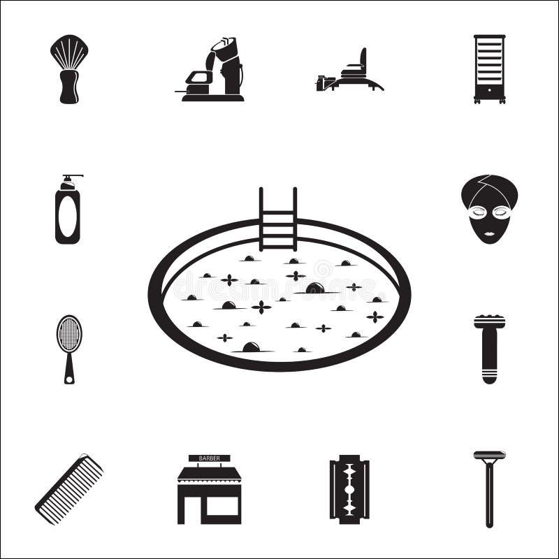εικονίδιο τζακούζι Λεπτομερές σύνολο εικονιδίων κουρέων Γραφικό σημάδι σχεδίου εξαιρετικής ποιότητας Ένα από τα εικονίδια συλλογή διανυσματική απεικόνιση