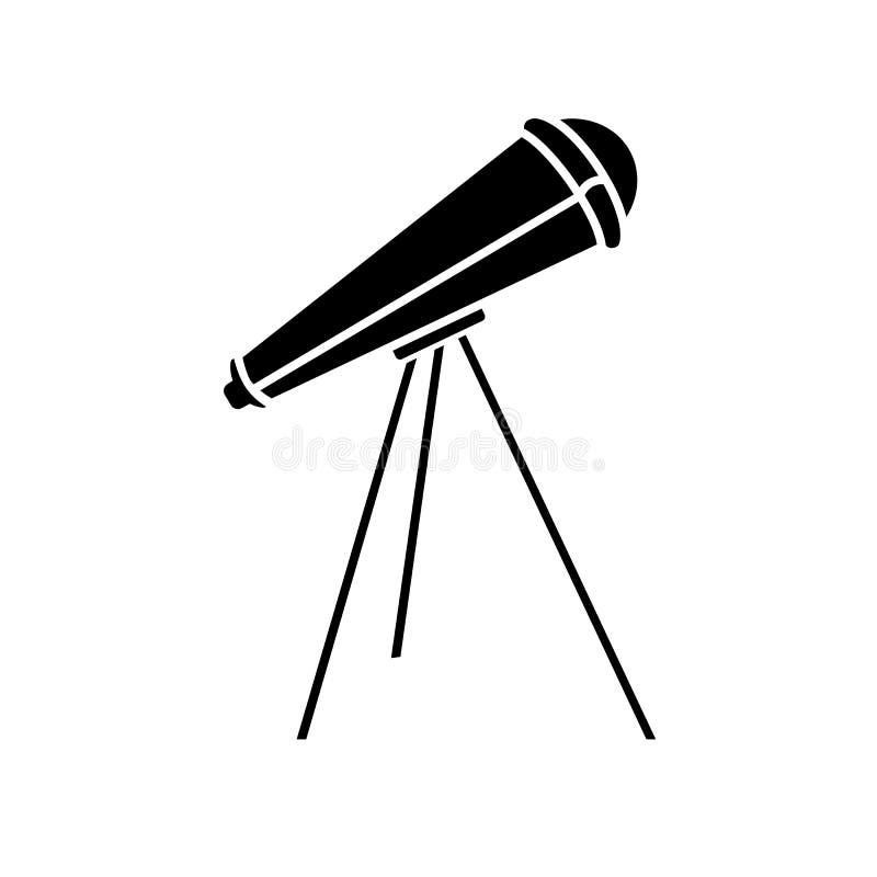 Εικονίδιο τηλεσκοπίων Glyph Στοιχείο των αστεριών εκπαίδευσης, τηλεσκοπίων και μελέτης διανυσματική απεικόνιση