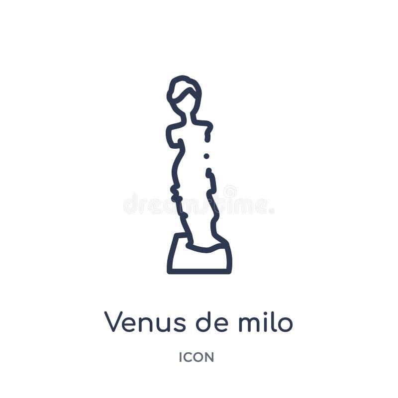 Εικονίδιο της Αφροδίτης de milo από τη συλλογή περιλήψεων μουσείων Λεπτό line Αφροδίτη de milo εικονίδιο που απομονώνεται στο άσπ ελεύθερη απεικόνιση δικαιώματος