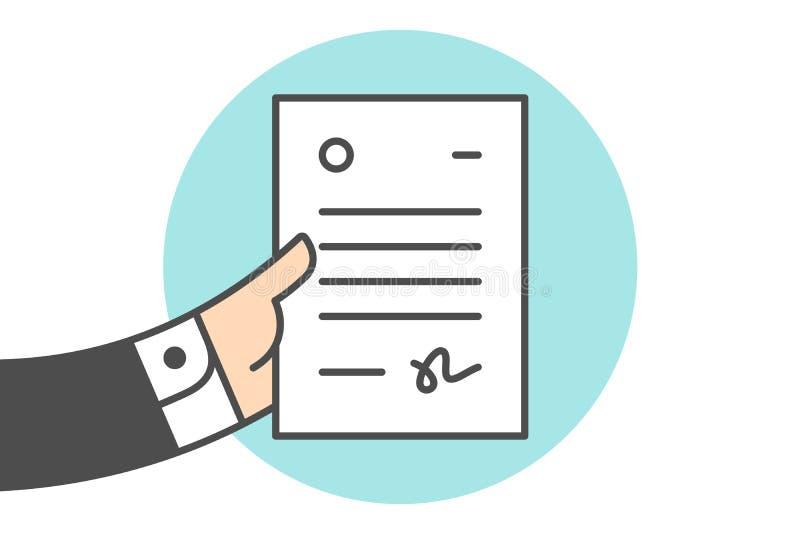 Εικονίδιο της επιστολής στο χέρι επιχειρηματιών ελεύθερη απεικόνιση δικαιώματος