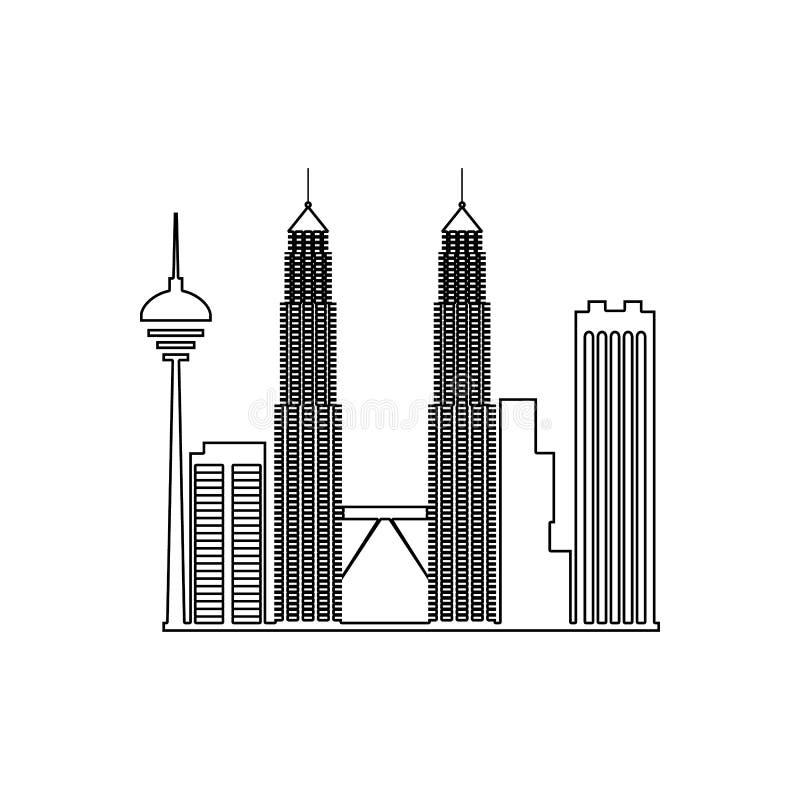 εικονίδιο της Κουάλα Λουμπούρ εικονικής παράστασης πόλης Στοιχείο της εικονικής παράστασης πόλης για το κινητό εικονίδιο έννοιας  διανυσματική απεικόνιση