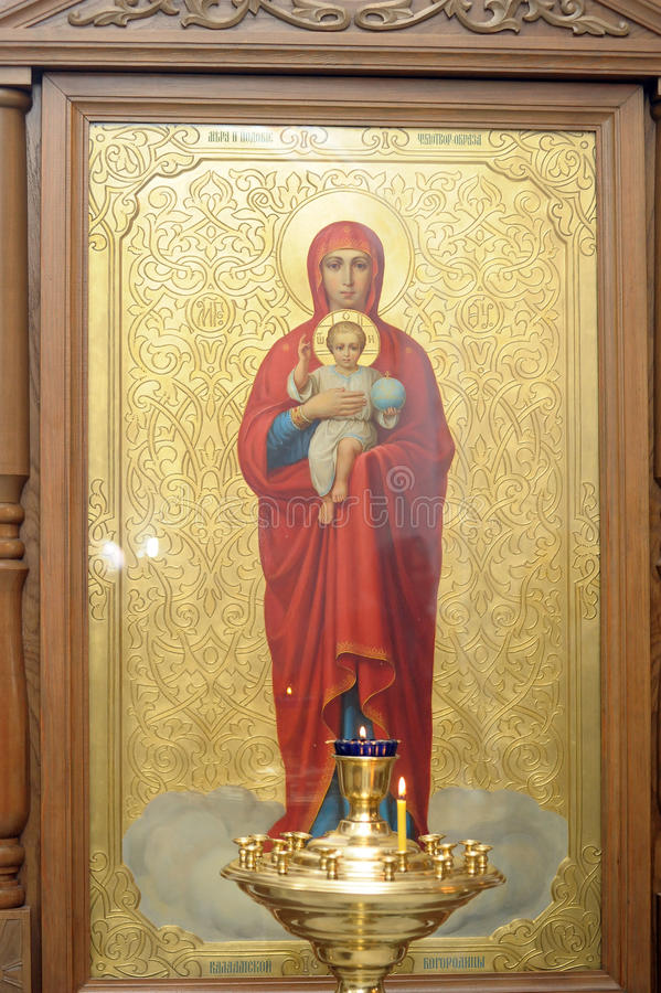 Εικονίδιο της μητέρας του Θεού και του Ιησούς Χριστού στοκ εικόνες με δικαίωμα ελεύθερης χρήσης