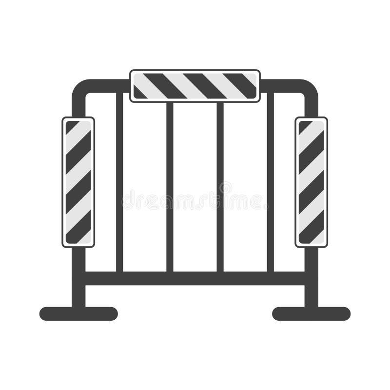 Εικονίδιο της οδικής περίφραξης με τους ανακλαστήρες Διανυσματική απεικόνιση, που απομονώνεται στο άσπρο υπόβαθρο διανυσματική απεικόνιση