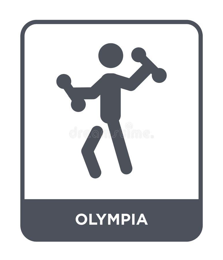 εικονίδιο της Ολυμπία στο καθιερώνον τη μόδα ύφος σχεδίου εικονίδιο της Ολυμπία που απομονώνεται στο άσπρο υπόβαθρο απλό και σύγχ απεικόνιση αποθεμάτων