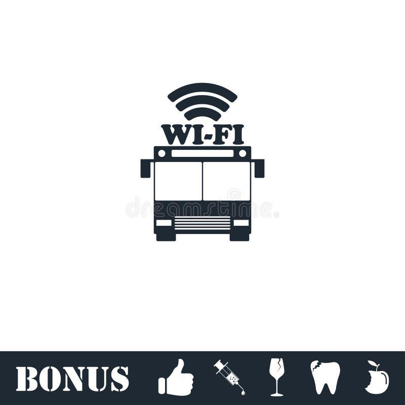 Εικονίδιο της WI-Fi λεωφορείων επίπεδο διανυσματική απεικόνιση