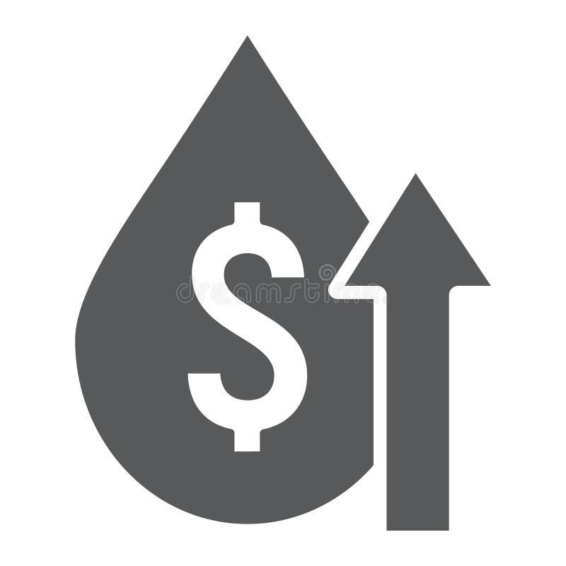Εικονίδιο τιμών του πετρελαίου glyph, καύσιμα και αγορά, σημάδι αύξησης δαπανών πετρελαίου, διανυσματική γραφική παράσταση, ένα σ απεικόνιση αποθεμάτων