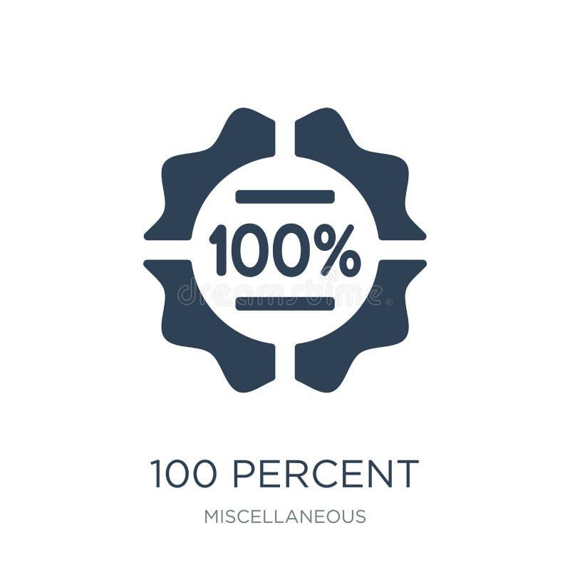 εικονίδιο 100 τοις εκατό στο καθιερώνον τη μόδα ύφος σχεδίου εικονίδιο 100 τοις εκατό που απομονώνεται στο άσπρο υπόβαθρο διανυσμ διανυσματική απεικόνιση