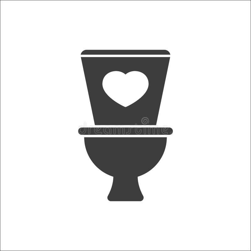 Εικονίδιο τουαλετών, λουτρό, εικονίδιο χώρων ανάπαυσης με το σημάδι καρδιών Εικονίδιο τουαλετών και αγαπημένος, όπως, αγάπη, σύμβ ελεύθερη απεικόνιση δικαιώματος