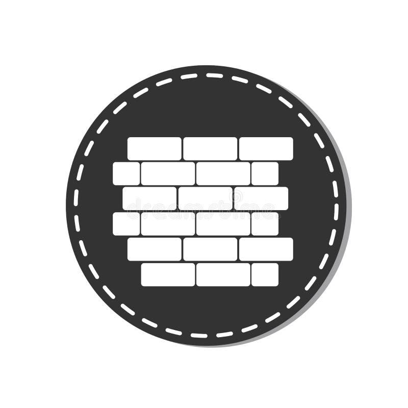 Εικονίδιο τουβλότοιχος - διανυσματική απεικόνιση - που απομονώνεται στο άσπρο υπόβαθρο διανυσματική απεικόνιση