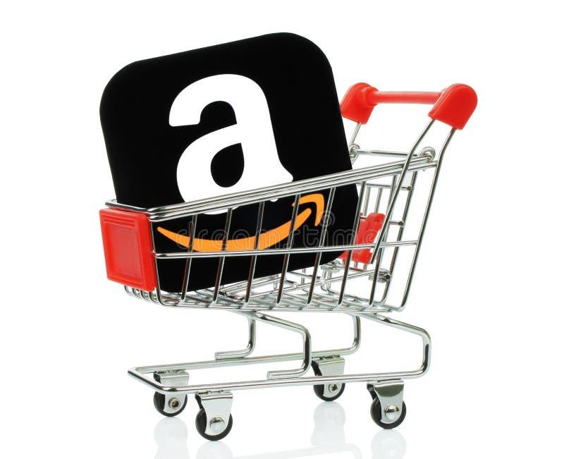 Εικονίδιο του Αμαζονίου που τοποθετείται στο κάρρο αγορών στοκ εικόνες με δικαίωμα ελεύθερης χρήσης