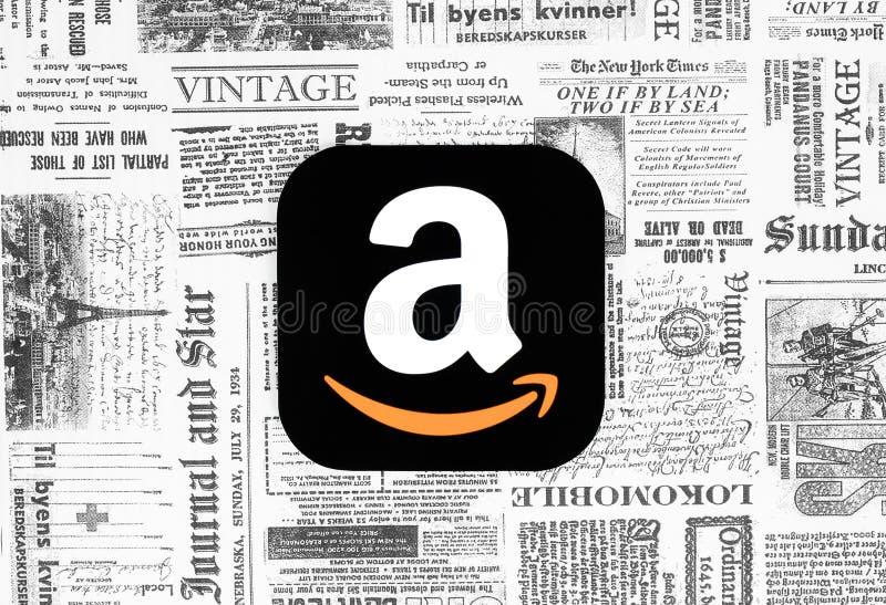 Εικονίδιο του Αμαζονίου στο αναδρομικό υπόβαθρο εφημερίδων διανυσματική απεικόνιση