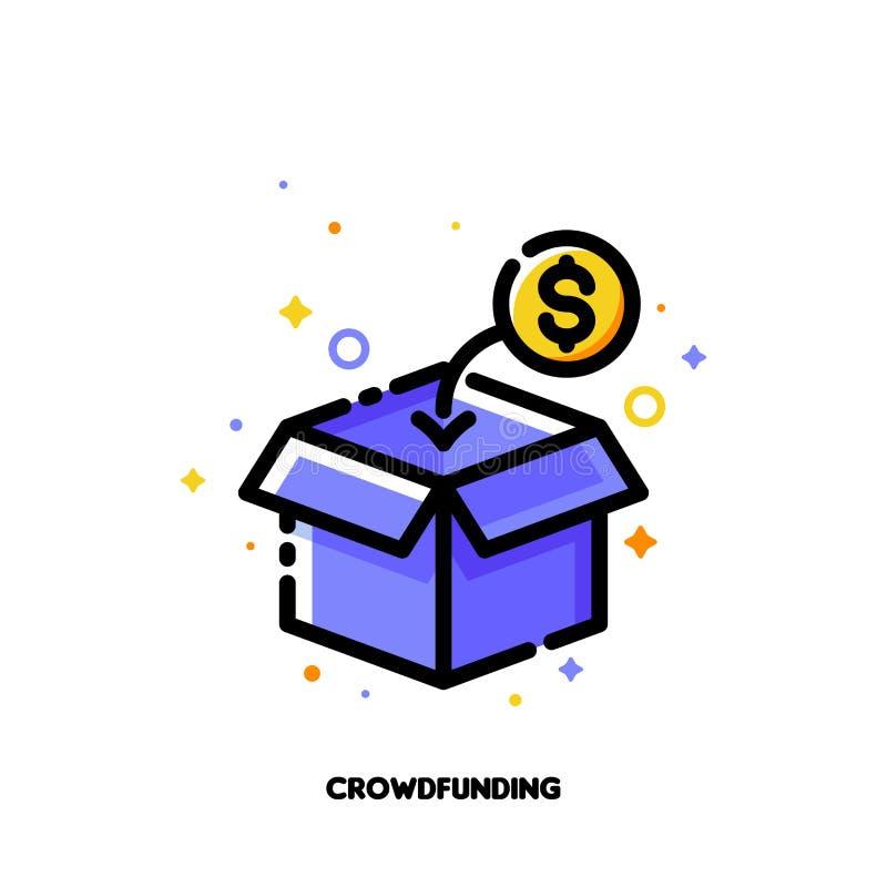Εικονίδιο του ανοικτού κιβωτίου που συλλέγει τις νομισματικές συνεισφορές από τους ανθρώπους για ή την επένδυση στην έννοια ιδεών διανυσματική απεικόνιση
