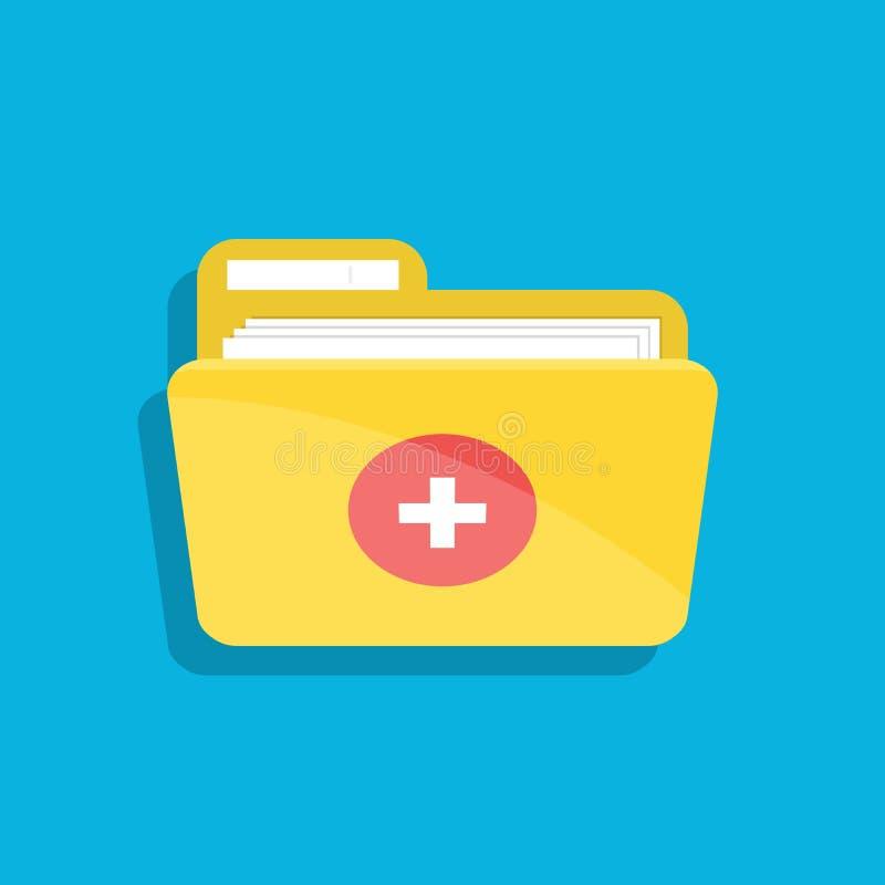 Εικονίδιο του ιατρικού φακέλλου για τα έγγραφα Για τις κινητών και υπολογιστών εφαρμογές Ιστού, Απεικόνιση που απομονώνεται επίπε ελεύθερη απεικόνιση δικαιώματος