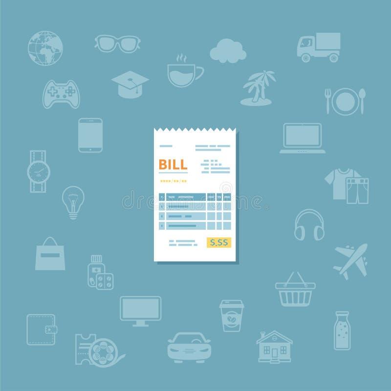 Εικονίδιο του Μπιλ Έλεγχος εγγράφου, παραλαβή, τιμολόγιο, διαταγή Πληρωμή των αγαθών, υπηρεσία, χρησιμότητα, εστιατόριο Διάνυσμα  απεικόνιση αποθεμάτων