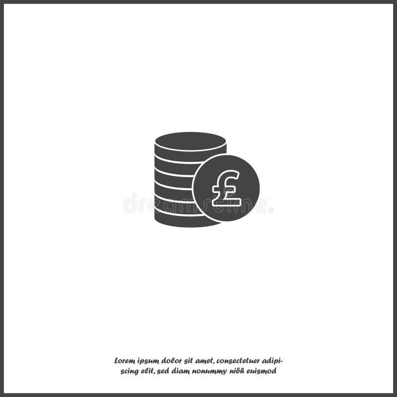 Εικονίδιο του νομίσματος λιβρών Νόμισμα χρημάτων λιβρών απομονωμένο στο λευκό υπόβαθρο απεικόνιση αποθεμάτων