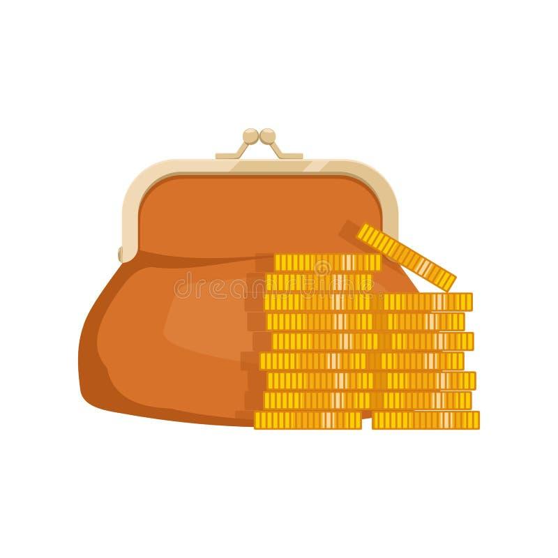 Εικονίδιο του πορτοφολιού με τα χρήματα Πορτοφόλι με τα μετρητά Σύμβολα επιχειρήσεων και χρηματοδότησης : r διανυσματική απεικόνιση