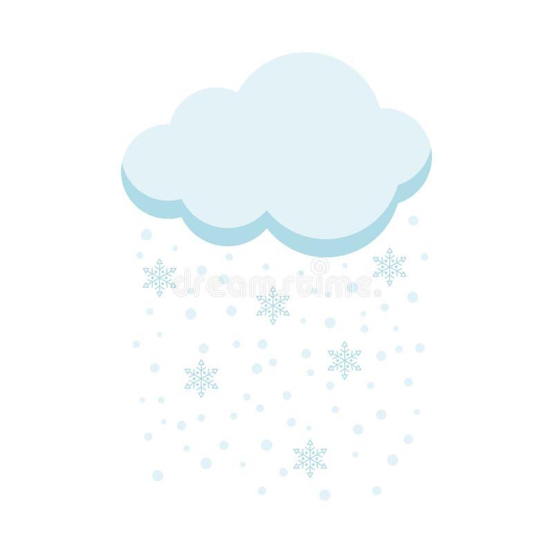 Εικονίδιο του σύννεφου με το χιόνι και snowflakes που απομονώνονται στο άσπρο υπόβαθρο ελεύθερη απεικόνιση δικαιώματος