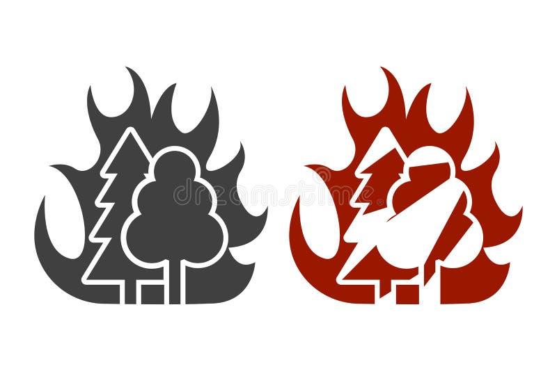 Εικονίδιο του υψηλού κινδύνου δασικής πυρκαγιάς Δύο επιλογές σχεδίου r διανυσματική απεικόνιση
