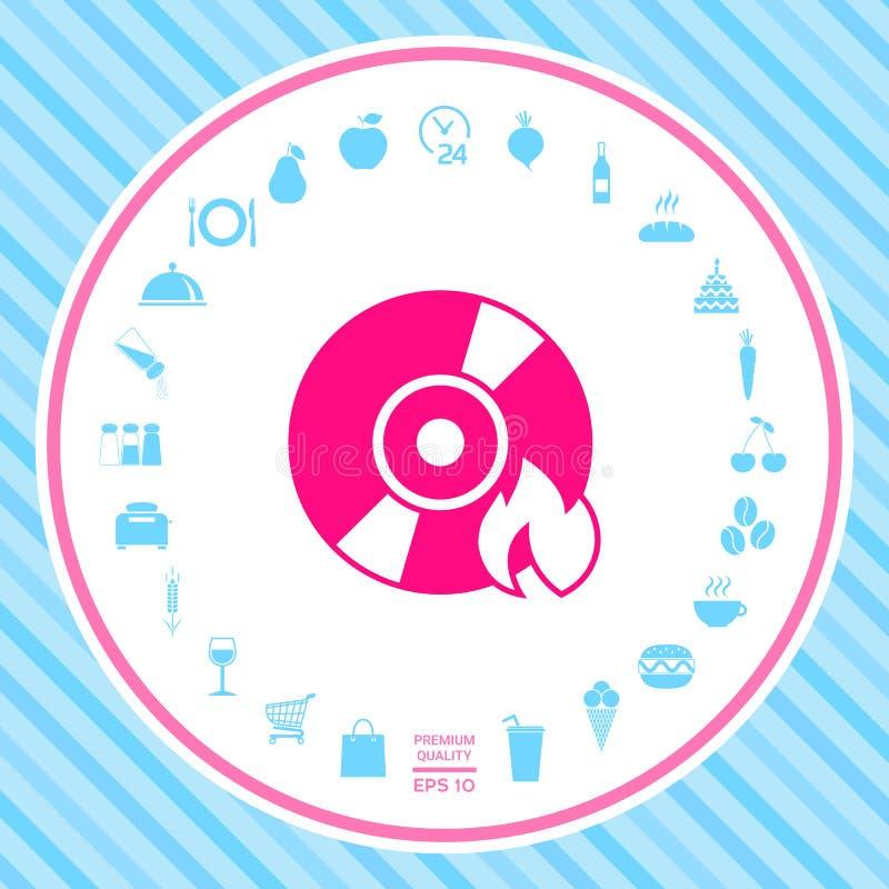 Εικονίδιο του CD ή DVD εγκαυμάτων διανυσματική απεικόνιση