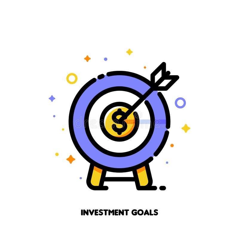 Εικονίδιο του dartboard με το βέλος για την έννοια στόχων επιχειρησιακής στόχων ή επένδυσης Οριζόντια γεμισμένο ύφος περιλήψεων r διανυσματική απεικόνιση