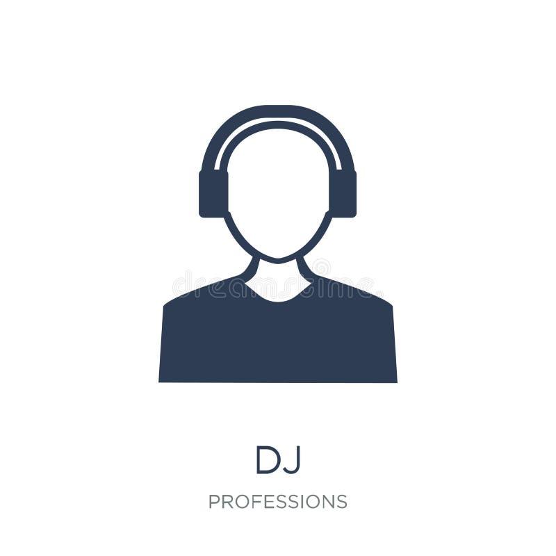 Εικονίδιο του DJ Καθιερώνον τη μόδα επίπεδο διανυσματικό εικονίδιο του DJ στο άσπρο υπόβαθρο από υπέρ απεικόνιση αποθεμάτων