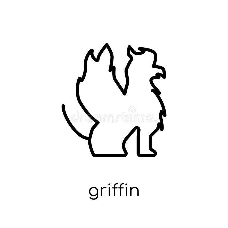 Εικονίδιο του Griffin Καθιερώνον τη μόδα σύγχρονο επίπεδο γραμμικό διανυσματικό εικονίδιο του Griffin στο W απεικόνιση αποθεμάτων