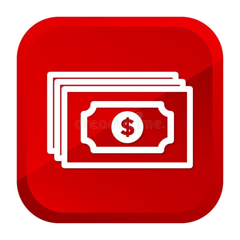 Εικονίδιο τράπεζας χρημάτων σημειώσεων δολαρίων Κόκκινο κουμπί r ελεύθερη απεικόνιση δικαιώματος