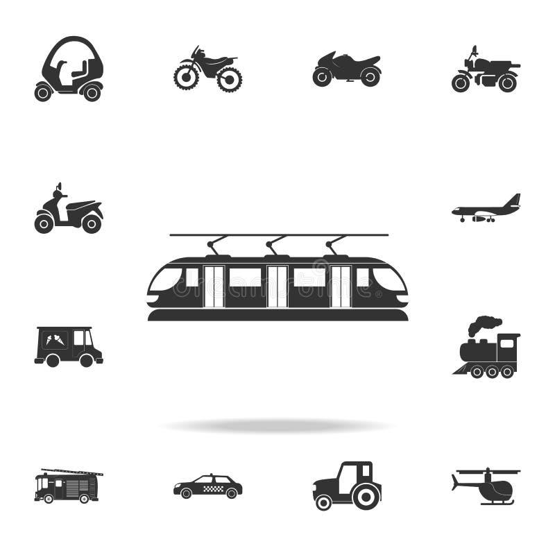 Εικονίδιο τραμ Λεπτομερές σύνολο εικονιδίων μεταφορών Γραφικό σχέδιο εξαιρετικής ποιότητας Ένα από τα εικονίδια συλλογής για τους ελεύθερη απεικόνιση δικαιώματος