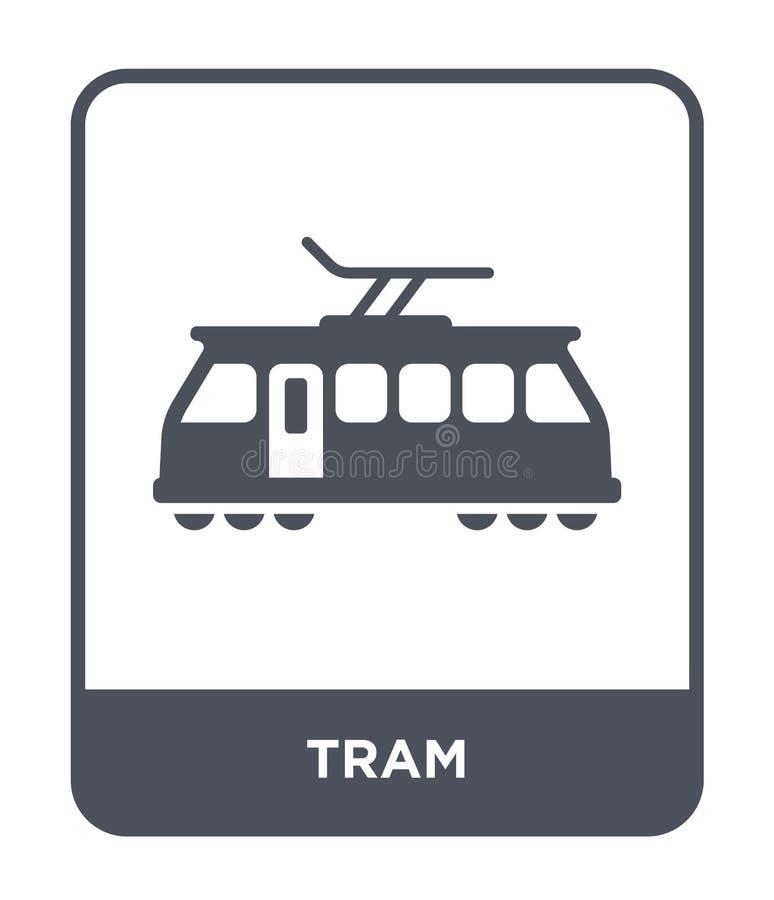 εικονίδιο τραμ στο καθιερώνον τη μόδα ύφος σχεδίου Εικονίδιο τραμ που απομονώνεται στο άσπρο υπόβαθρο απλό και σύγχρονο επίπεδο σ ελεύθερη απεικόνιση δικαιώματος