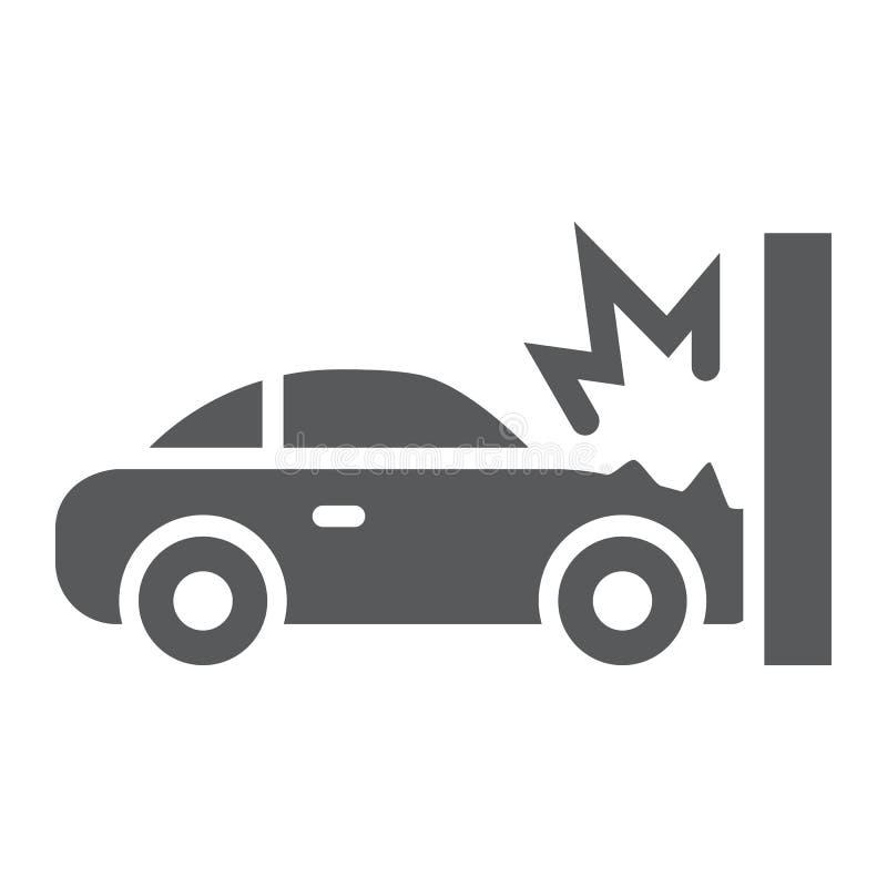 Εικονίδιο τροχαίου ατυχήματος glyph, καταστροφή και αυτόματος, σημάδι τροχαίου ατυχήματος, διανυσματική γραφική παράσταση, ένα στ διανυσματική απεικόνιση