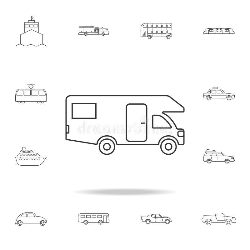 Εικονίδιο τροχόσπιτων Εγχώριο εικονίδιο μηχανών Λεπτομερές σύνολο εικονιδίων περιλήψεων μεταφορών Γραφικό εικονίδιο σχεδίου εξαιρ απεικόνιση αποθεμάτων