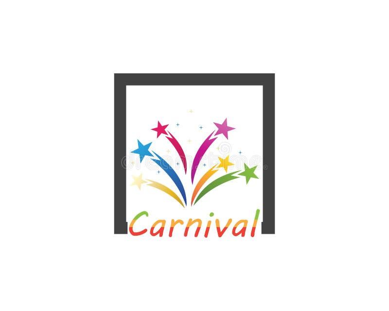 Εικονίδιο τσίρκων κομμάτων καρναβαλιού και διανυσματική απεικόνιση συμβόλων διανυσματική απεικόνιση