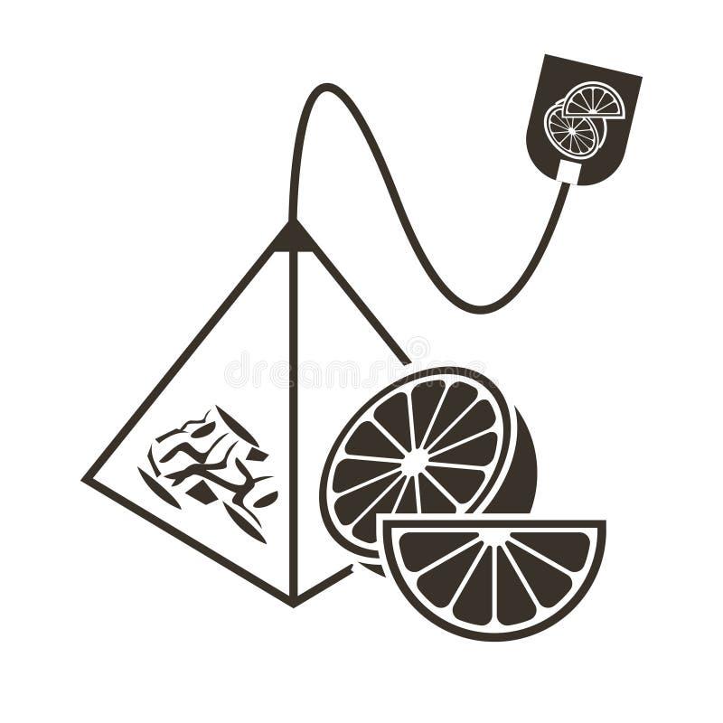 Εικονίδιο τσαντών τσαγιού πυραμίδων με ένα πορτοκάλι, έναν ασβέστη ή ένα γκρέιπφρουτ γεύσης εσπεριδοειδών Λογότυπο στο επίπεδο ύφ απεικόνιση αποθεμάτων
