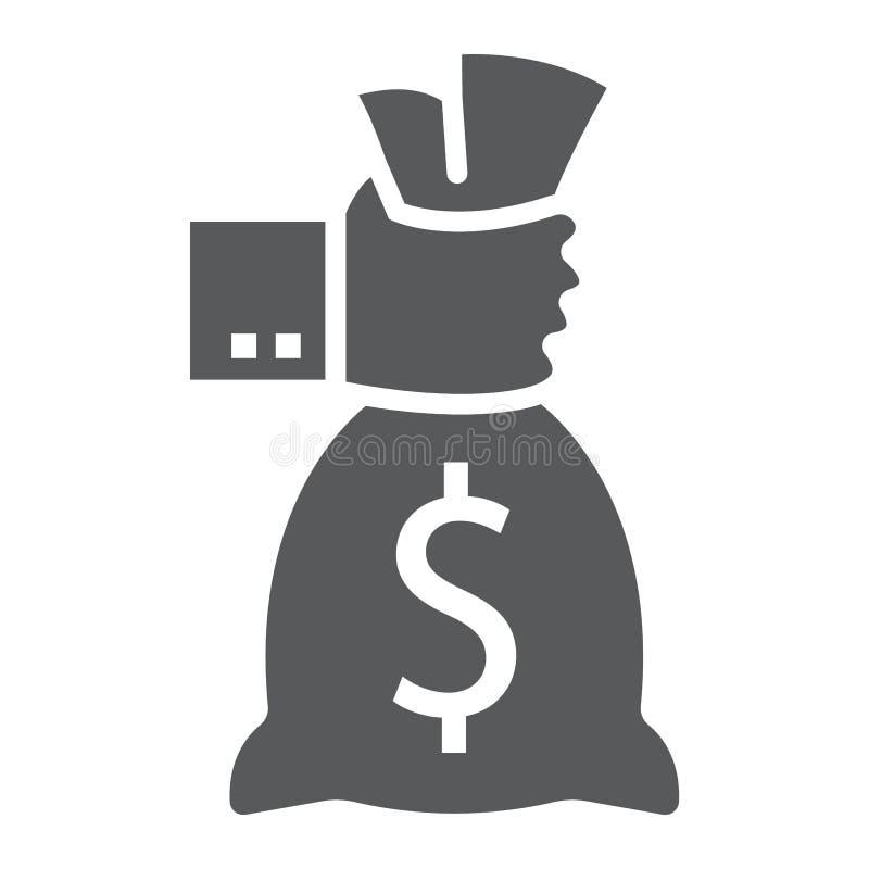 Εικονίδιο τσαντών χρημάτων εκμετάλλευσης χεριών glyph, χρηματοδότηση διανυσματική απεικόνιση