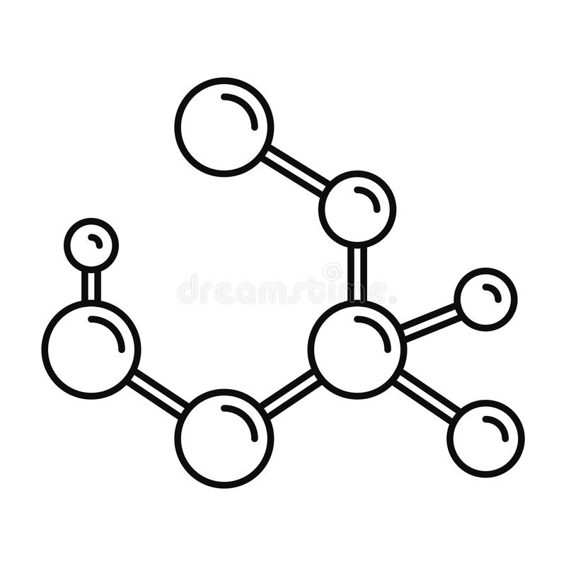 Εικονίδιο τύπου μορίων, ύφος περιλήψεων διανυσματική απεικόνιση