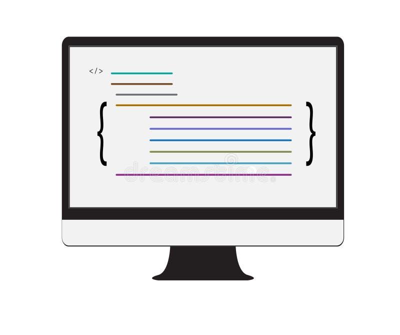 Εικονίδιο υπεύθυνων για την ανάπτυξη Ιστού στο άσπρο υπόβαθρο Επίπεδο ύφος ελεύθερη απεικόνιση δικαιώματος