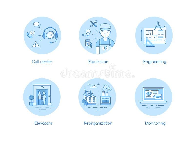 Εικονίδιο υπηρεσιών που τίθεται στο ύφος lineart ελεύθερη απεικόνιση δικαιώματος
