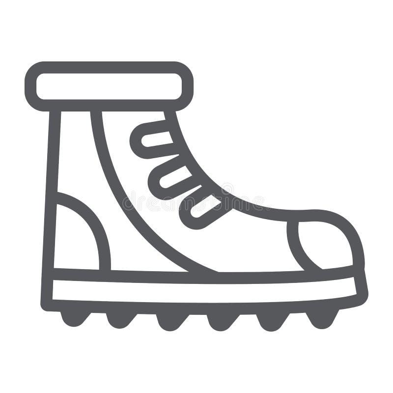 Εικονίδιο, υποδήματα και πεζοπορία γραμμών μποτών, καθορισμένο σημάδι παπουτσιών, διανυσματική γραφική παράσταση, ένα γραμμικό σχ απεικόνιση αποθεμάτων