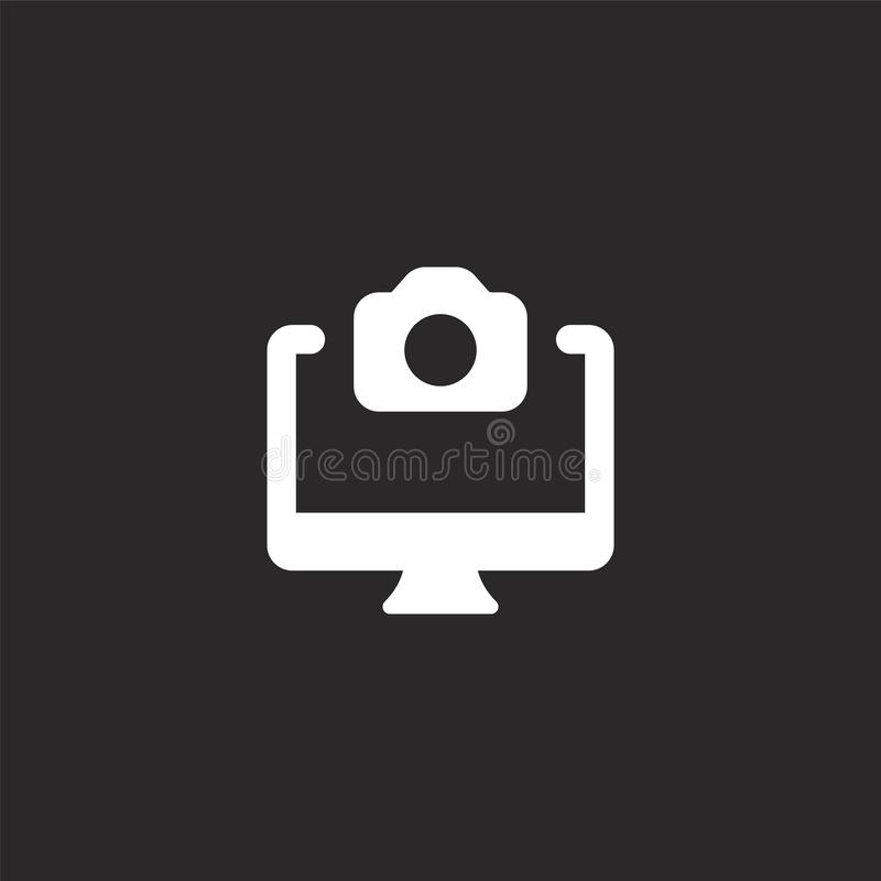 εικονίδιο υπολογιστών γραφείου Γεμισμένο εικονίδιο υπολογιστών γραφείου για το σχέδιο ιστοχώρου και κινητός, app ανάπτυξη εικονίδ διανυσματική απεικόνιση
