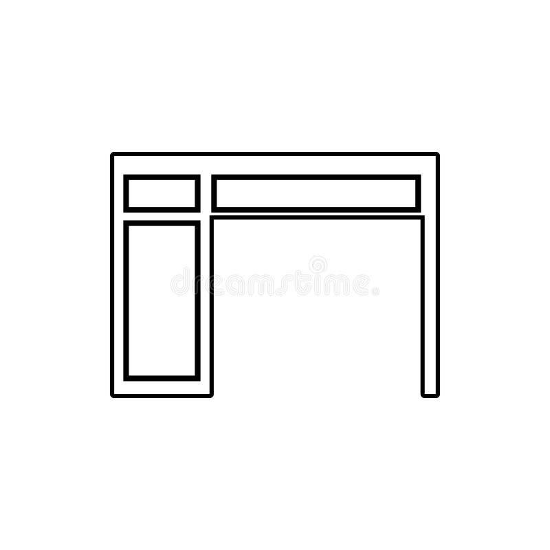 Εικονίδιο υπολογιστών γραφείου Στοιχείο των επίπλων για το κινητό εικονίδιο έννοιας και Ιστού apps Λεπτό εικονίδιο γραμμών για το διανυσματική απεικόνιση