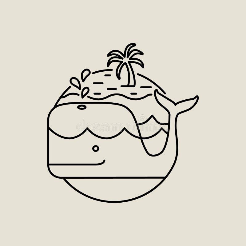 Εικονίδιο φαλαινών στην επίπεδη τέχνη γραμμών με το τροπικό νησί ελεύθερη απεικόνιση δικαιώματος