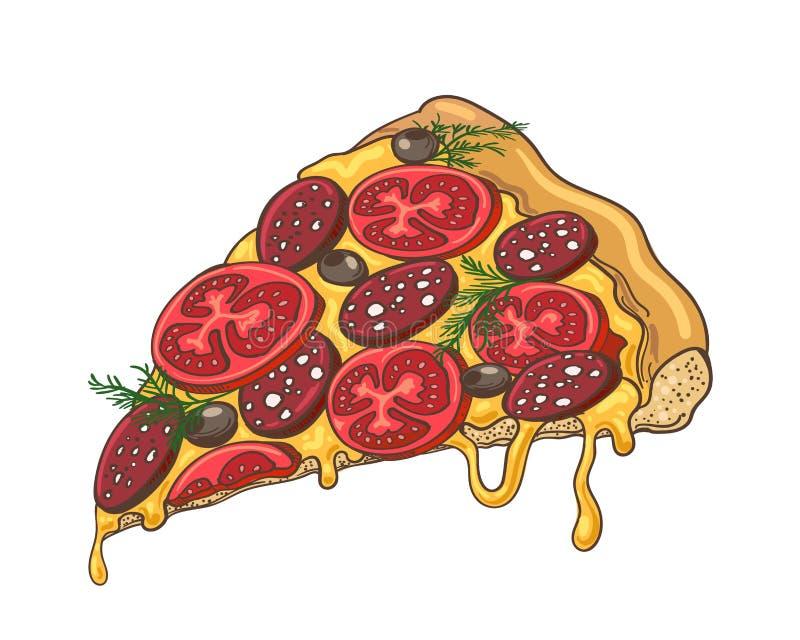 Εικονίδιο φετών πιτσών στο λευκό απεικόνιση αποθεμάτων