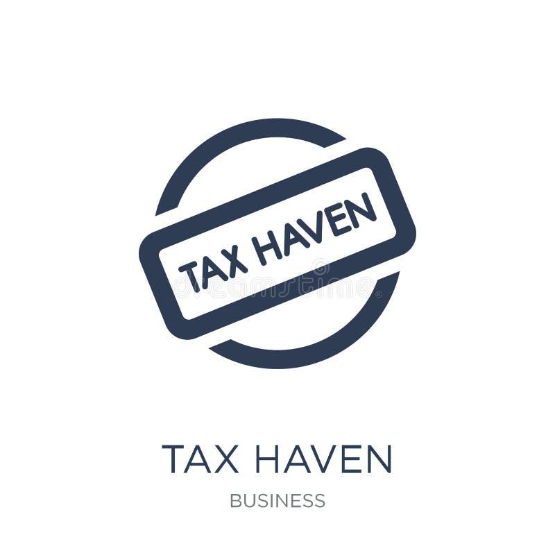Εικονίδιο φορολογικών παραδείσων Καθιερώνον τη μόδα επίπεδο διανυσματικό εικονίδιο φορολογικών παραδείσων στο άσπρο backg ελεύθερη απεικόνιση δικαιώματος